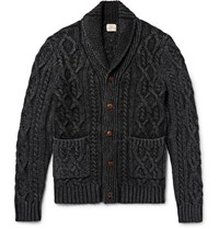 Faherty Hawl Collar Indigo Dyed Cable Knit Cotton Cardigan Black