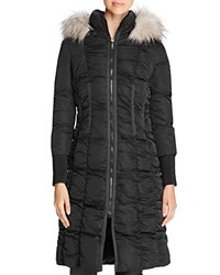 T Tahari Elizabeth Faux Fur Trim Long Puffer Coat Black