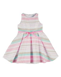 Florence Eiseman Sleeveless Striped Pleated Organza Dress Pink