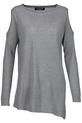 Magaschoni Cutout Silk And Cashmere Blend Sweater Gray