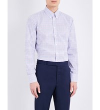 Turnbull And Asser Gingham Regular Fit Cotton Shirt White Blue
