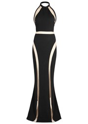 Balmain Black Mesh Panelled Gown