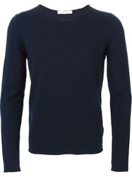 Societe Anonyme Fine Knit Striped Sweater Blue