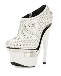 Studded Leather Platform Bootie White Silver Versace