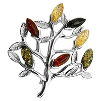 Goldmajor Amber Sterling Silver Tree Brooch Multi