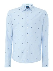 Scotch And Soda Men's All Over Mini Embroidered Shirt Blue Multi