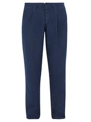 120 Lino Mid Rise Linen Trousers Dark Navy