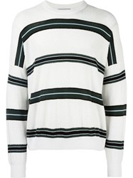 Ami Alexandre Mattiussi Striped Boxy Sweater White
