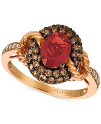 Le Vian Chocolatier Neon Tangerine Fire Opal 5 8 Ct. T.W. And Diamond 1 2 Ct. T.W. Ring In 14K Rose Gold