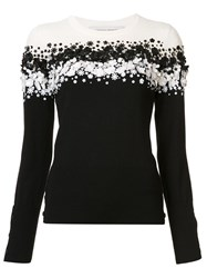 Carolina Herrera Sequinned Floral Pullover Black