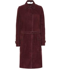 Victoria Beckham Suede Trench Coat Red