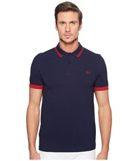 Fred Perry Ringer Cuff Pique Shirt Carbon Blue Men's Clothing Navy