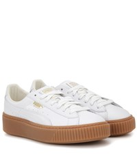 Puma Basket Platform Leather Sneakers White