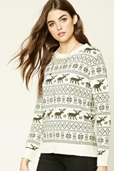 Forever 21 Moose Fair Isle Sweater
