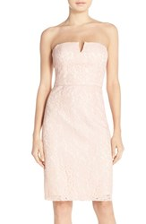 Women's Donna Morgan 'Quinn' Strapless Notch Neck Lace Dress Pearl Pink