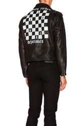 Enfants Riches Deprimes Checker Board Print Leather Jacket In Black