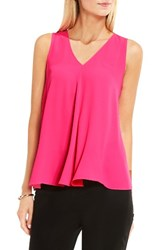 Vince Camuto Women's Drape Front V Neck Sleeveless Blouse Electric Pink