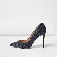 River Island Womens Navy Glitter Wide Fit Court Shoes