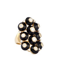 18K Pyramide Onyx And Diamond Cluster Ring Maria Canale For Forevermark Black