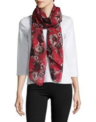 Lord And Taylor Floral Scarf Red