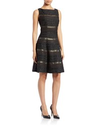 Gabby Skye Metallic Fit And Flare Dress Black Gold