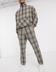 Mennace Natural Wool Check Tapered Trouser Beige
