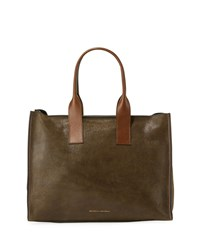 Brunello Cucinelli Smooth Calf Leather Tote Bag Brown