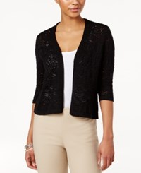Jm Collection Petite Cropped Crochet Cardigan Only At Macy's Deep Black