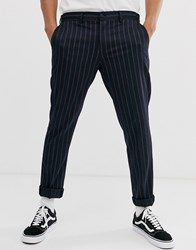 Selected Homme Twin Pin Stripe Trousers In Navy