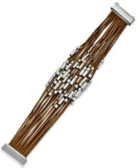Macy's Silver Tone Beaded Cord Bracelet Brown