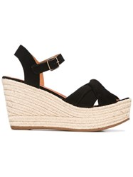 Chie Mihara Wedge Sandals Women Leather Foam Rubber 37 Black