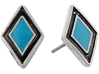 Lauren Ralph Lauren Acapulco Diamond Shape Enamel Inlay Stud Earrings Silver Turquoise Earring Multi
