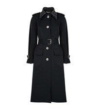 Alessandra Rich Crystal Button Trench Coat Black