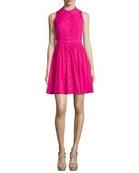 Michael Kors Sleeveless Collared Shirtdress Geranium