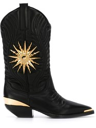 Fausto Puglisi Embellished Western Boots Black