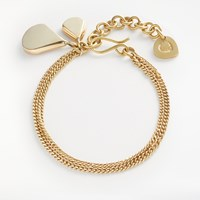 And Or Double Teardrop Flat Chain Bracelet Gold