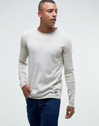 Only And Sons Jumper With Contrast Trim Oatmeal Off White Beige