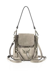 Chloe Small Faye Leather And Suede Backpack Motty Grey