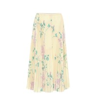 Red Valentino Pleated Floral Crepe Midi Skirt Yellow
