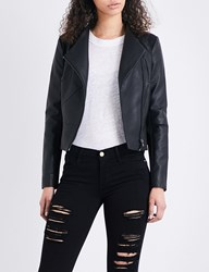 French Connection Stand Collar Faux Leather Jacket Black