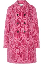 Valentino Double Breasted Flocked Cotton Blend Coat Bright Pink