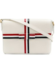 Thom Browne Gift Box Bag With Bow In Leather White