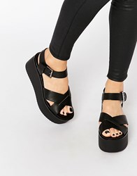 Pull And Bear Pullandbear Block Wedges With Crossover Straps Black