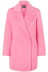 Theory Double Breasted Wool And Cashmere Blend Felt Coat Pink