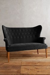 Anthropologie Velvet Wingback Bench Black