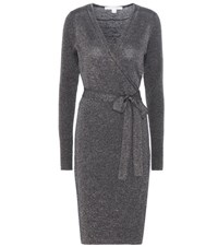 Diane Von Furstenberg Evelyn Wool Blend Wrap Dress Blue