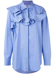 Msgm Striped Blouse Women Cotton 44 Blue