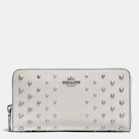Coach Accordion Zip Wallet In Polished Pebble Leather With Ombre Rivets Silver Chalk