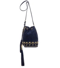 Saint Laurent Small Y Studs Suede Bucket Bag Blue