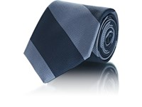 Fairfax Wide Striped Silk Faille Necktie Navy